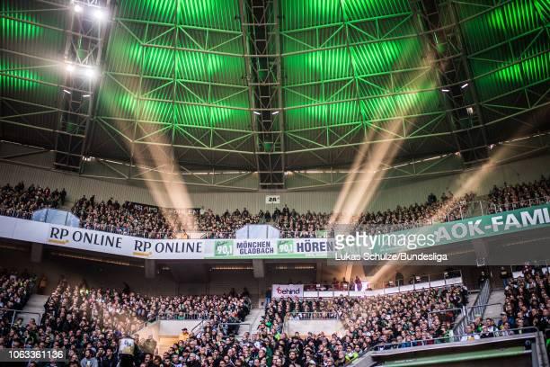 General view inside the stadium with the sun during the Bundesliga match between Borussia Mönchengladbach and Fortuna Düsseldorf at BorussiaPark on...