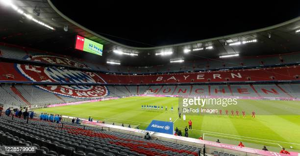 General View inside the stadium without spectators prior to the Bundesliga match between FC Bayern Muenchen and FC Schalke 04 at Allianz Arena on...