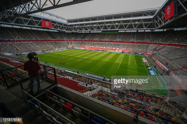 General view inside the staidum prior to the Bundesliga match between Fortuna Duesseldorf and SC Paderborn 07 at Merkur Spiel-Arena on May 16, 2020...