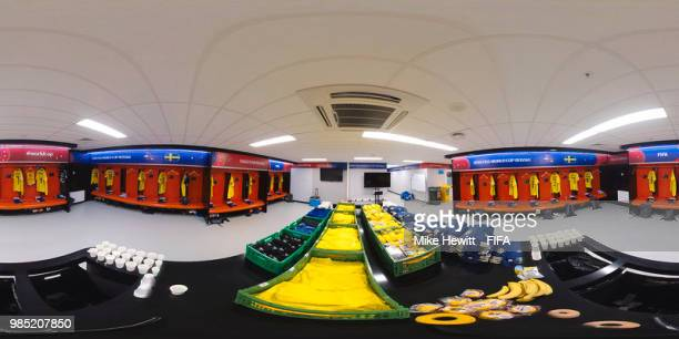 General view inside the Sweden dressing room during the 2018 FIFA World Cup Russia group F match between Mexico and Sweden at Ekaterinburg Arena on...
