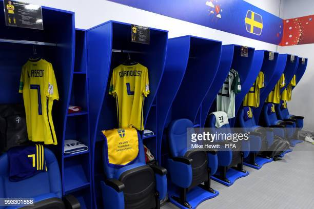 General view inside the Sweden dressing room prior to the 2018 FIFA World Cup Russia Quarter Final match between Sweden and England at Samara Arena...