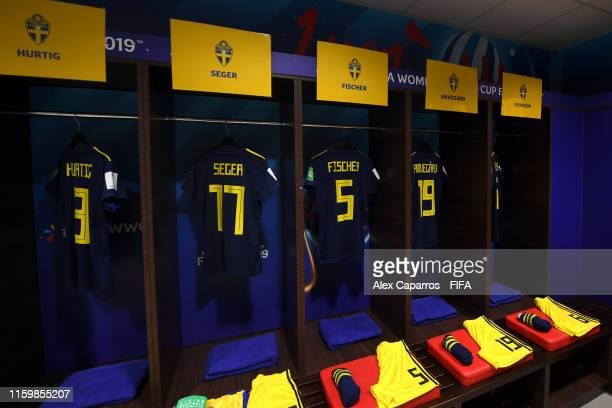 General view inside the Sweden dressing room prior to the 2019 FIFA Women's World Cup France Semi Final match between Netherlands and Sweden at Stade...