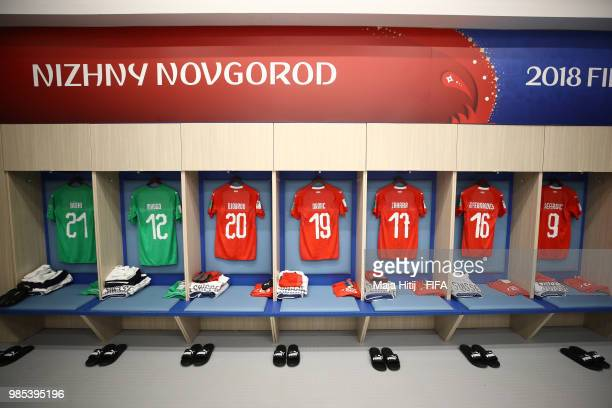 General view inside the Switzerland dressing room prior to the 2018 FIFA World Cup Russia group E match between Switzerland and Costa Rica at Nizhny...