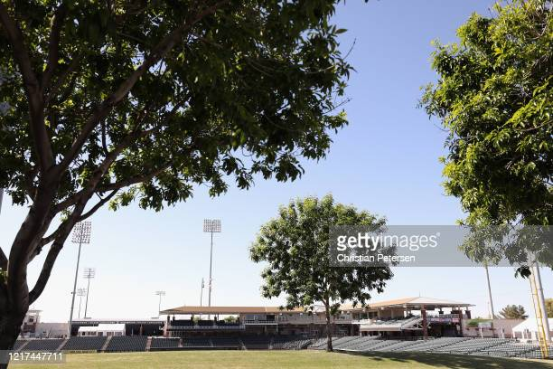 General view inside the Texas Rangers and Kansas City Royals spring training facility Surprise Stadium on April 07 2020 in Surprise Arizona According...