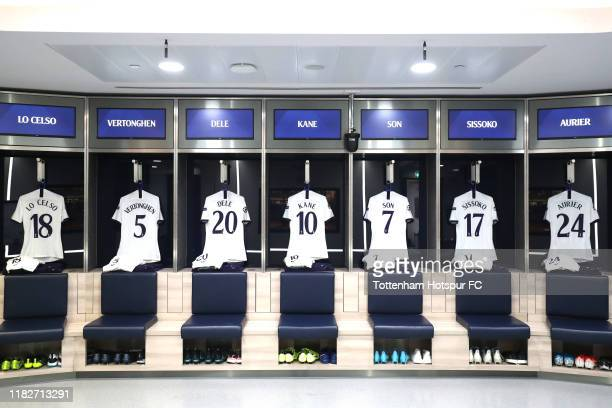 General view inside the Tottenham Hotspur dressing room prior to the UEFA Champions League group B match between Tottenham Hotspur and Crvena Zvezda...