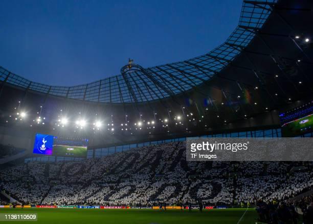 General view inside the Tottenham Hotspur stadium during the UEFA Champions League Quarter Final first leg match between Tottenham Hotspur and...