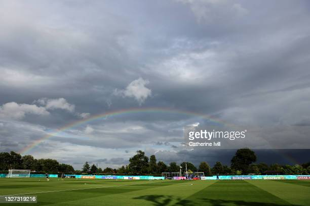 General view inside the training centre as a rainbow is seen during the Denmark Training Session ahead of the Euro 2020 Semi-Final match between...