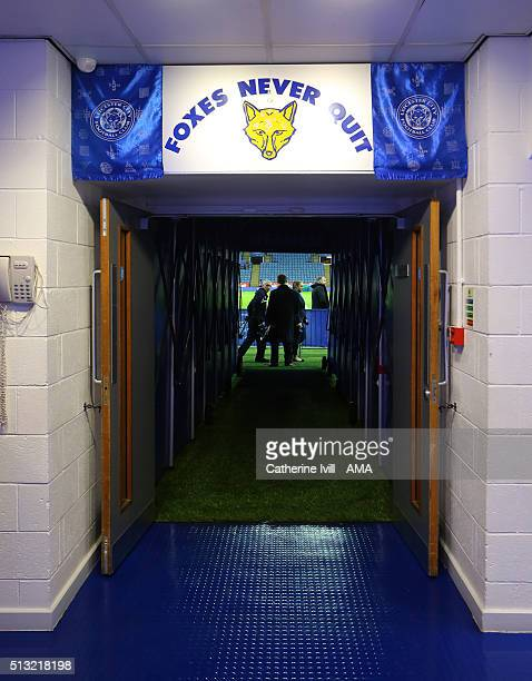 General view inside the tunnel before the Barclays Premier League match between Leicester City and West Bromwich Albion at the King Power Stadium on...