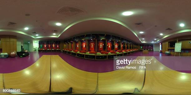 A general view inside the Urawa Reds dressing room prior to the FIFA Club World Cup UAE 2017 fifth place playoff match between Wydad Casablanca and...
