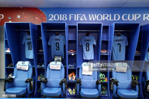 General view inside the Uruguay dressing room prior to the 2018 FIFA World Cup Russia Round of 16 match between Uruguay and Portugal at Fisht Stadium...
