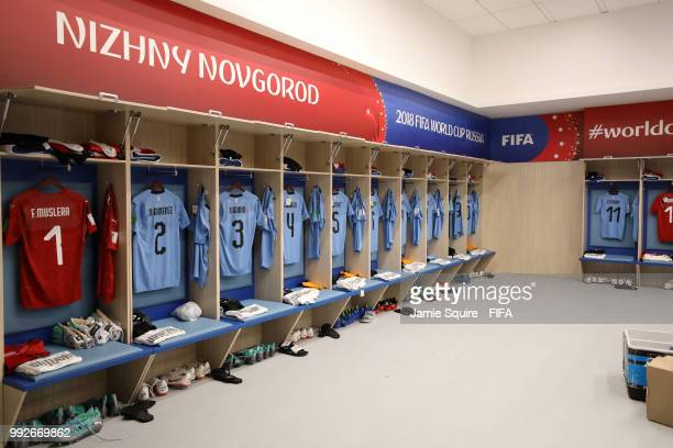General view inside the Uruguay dressing room prior to the 2018 FIFA World Cup Russia Quarter Final match between Uruguay and France at Nizhny...