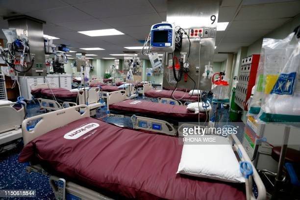 A general view inside the US Naval hospital ship Comfort docked at the Port of Miami in Miami Florida on June 18 2019 The ship will head to Central...