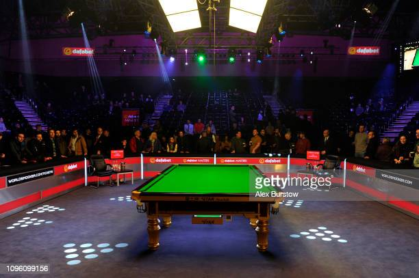 General view inside the venue as fans arrive prior to the quarterfinal match between Neil Robertson of Australia and Barry Hawkins of England on day...