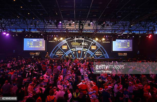 A general view inside the venue during day one of the 2017 William Hill PDC World Darts Championships at Alexandra Palace on December 15 2016 in...