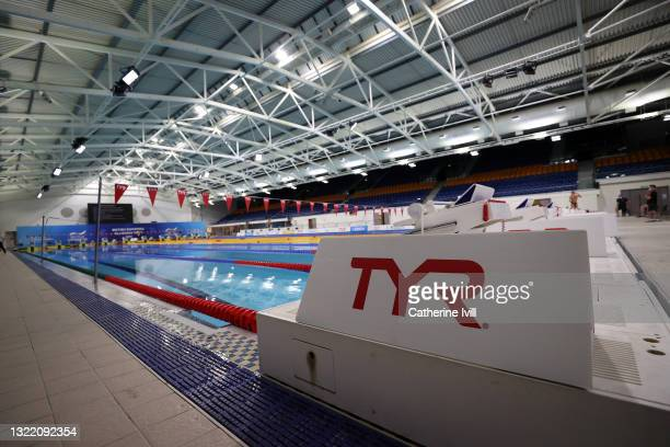 General view inside the venue during the British Swimming Glasgow Meet - Day Two at Tollcross International Swimming Centre on June 04, 2021 in...