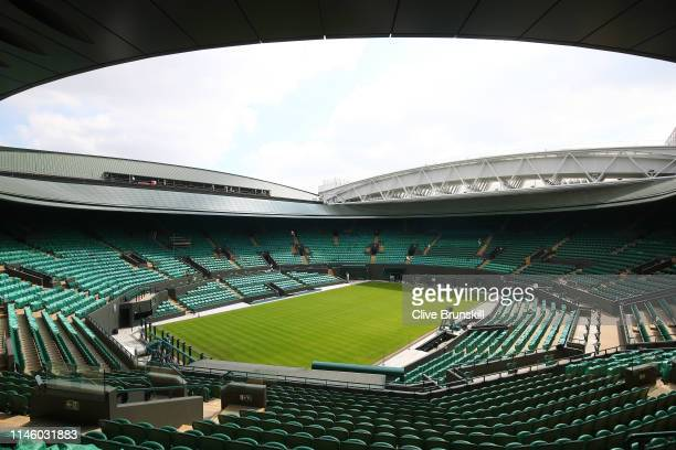 A general view inside the Wimbledon Number 1 court with the new fixed and retractable roof after the Wimbledon Spring Press Conference 2019 at the...