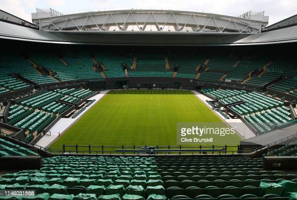 General view inside the Wimbledon Number 1 court with the new fixed and retractable roof after the Wimbledon Spring Press Conference 2019 at the All...