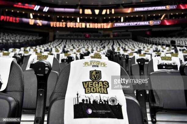A general view inside TMobile arena prior to Game Five of the Stanley Cup Final between the Vegas Golden Knights and the Washington Capitals during...