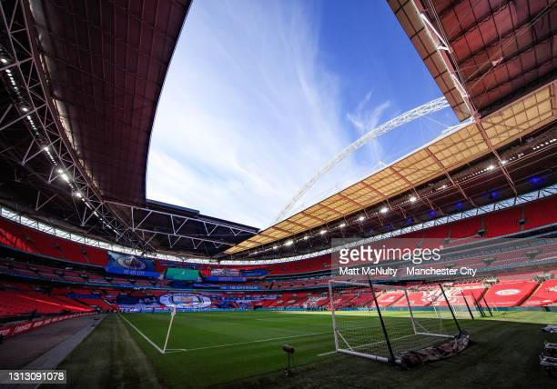 General view inside Wembley Stadium during the Semi Final of the Emirates FA Cup match between Manchester City and Chelsea FC at Wembley Stadium on...