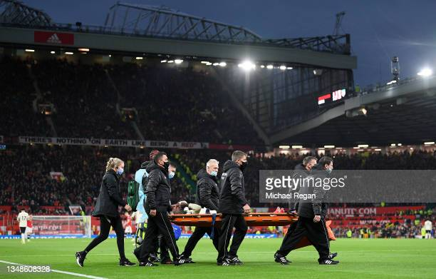 General view insidea the stadium as Naby Keita of Liverpool is stretchered off following a challenge by Paul Pogba of Manchester United leading to a...
