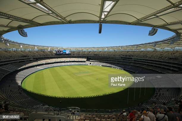A general view is pictured at Optus Stadium on January 21 2018 in Perth Australia The 60000 seat multipurpose Stadium features the biggest LED...