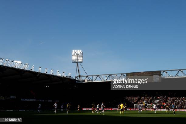 A general view is pictured during the English Premier League football match between Watford and Tottenham Hotspur at Vicarage Road Stadium in Watford...