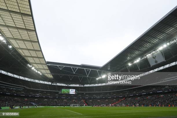 A general view is pictured during the English Premier League football match between Tottenham Hotspur and Arsenal at Wembley Stadium in London on...
