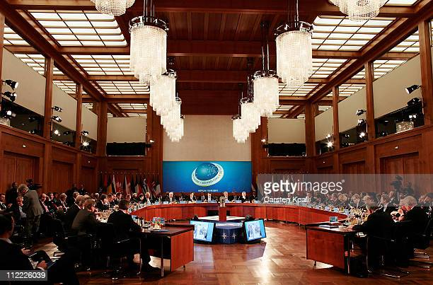 General view is pictured during the meeting of the NATORUSSIA Council at an informal meeting of NATO member foreign ministers on April 15 2011 in...