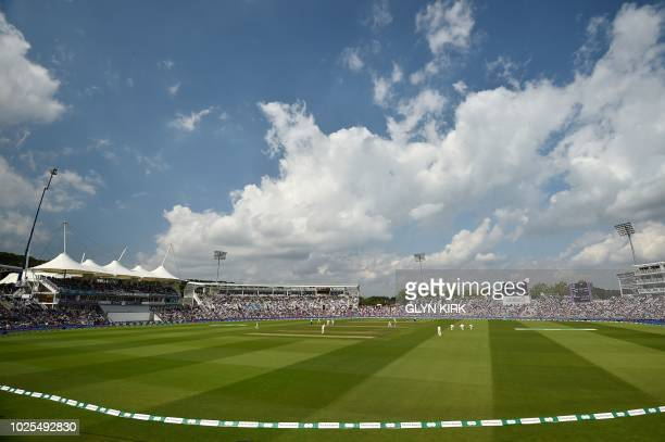 A general view is pictured during the second day of the fourth Test cricket match between England and India at the Ageas Bowl in Southampton...