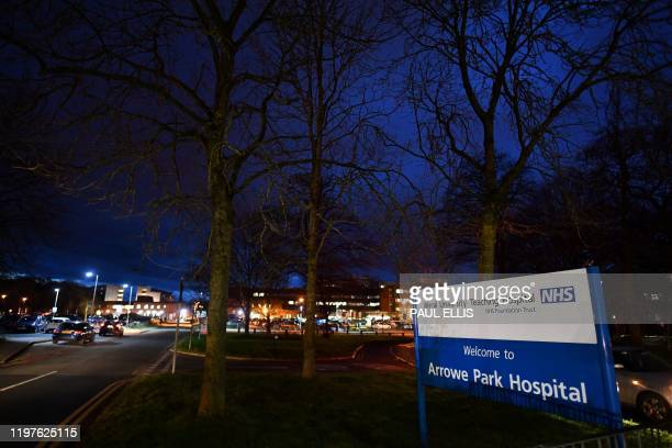 A general view is pictured of a sign for the Arrowe Park Hospital at the entrance of the access road to the grounds in Wirral Merseyside in north...