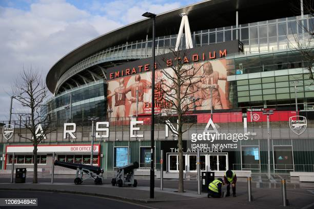 A general view is pictured of the Emirates Stadium in London on March 13 2020 The English Premier League suspended all fixtures until April 4 on...