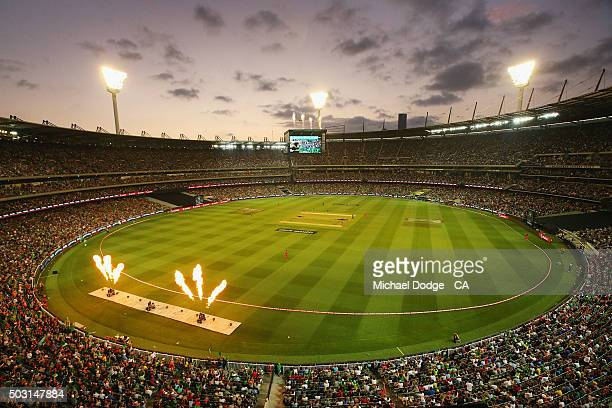A general view is seen after Luke Wright of the Stars hits a six during the Big Bash League match between the Melbourne Stars and the Melbourne...