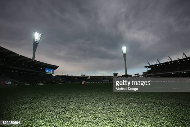 A general view is seen after players walked off due to lightning during the Women's International match between the Australian Matildas and China PR...
