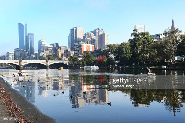 A general view is seen along the banks of the Yarra River on April 23 2018 in Melbourne Australia Melbourne has been experiencing unseasonably warm...