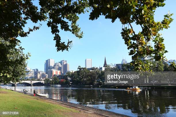 General view is seen along the banks of the Yarra River on April 23, 2018 in Melbourne, Australia. Melbourne has been experiencing unseasonably warm...
