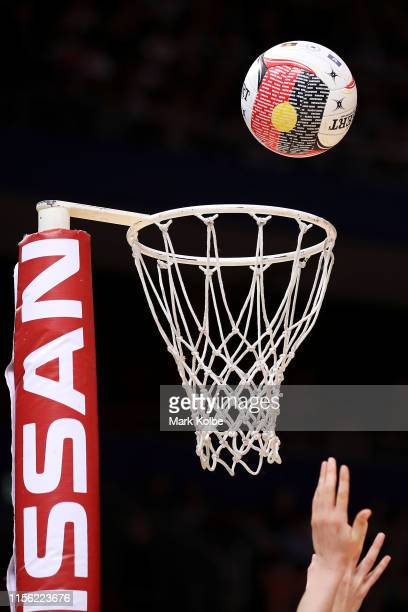 General view is seen as a goal is scored during the round 8 Super Netball match between the Swifts and the Giants at Qudos Bank Arena on June 16,...