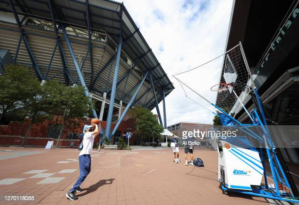 A general view is seen as a guest plays basketball outside of Arthur Ashe Stadium on Day Two of the 2020 US Open at the USTA Billie Jean King...