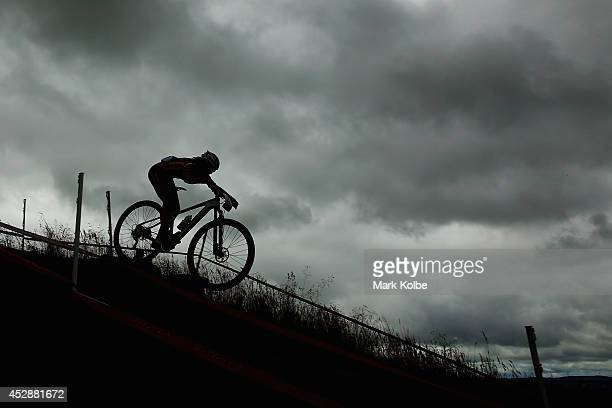 General view is seen as a rider competes in the Women's Cross-country Mountain Biking at Cathkin Braes Mountain Bike Trails during day six of the...