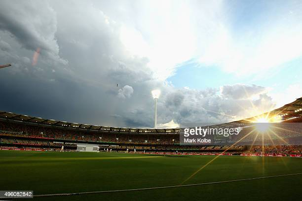 General view is seen as a storm passes during day three of the First Test match between Australia and New Zealand at The Gabba on November 7, 2015 in...