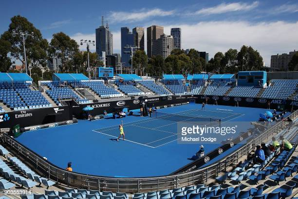 A general view is seen as a tennis player competes on show court three during a practice session ahead of the 2018 Australian Open at Melbourne Park...