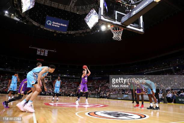 General view is seen as Andrew Bogut of the Kings shoots from the free throw line during the round three NBL match between the Sydney Kings and the...