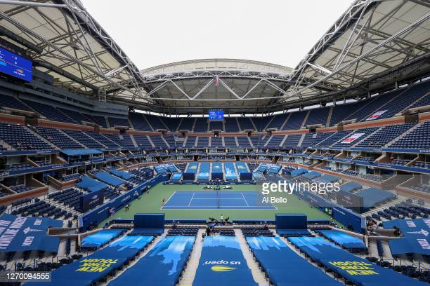 A general view is seen as Andy Murray of Great Britain serves the ball during his Men's Singles first round match against Yoshihito Nishioka of Japan...