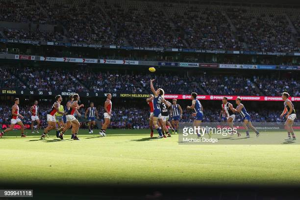 A general view is seen as Ben Brown of the Kangaroos competes for the ball during the round two AFL match between the North Melbourne Kangaroos and...