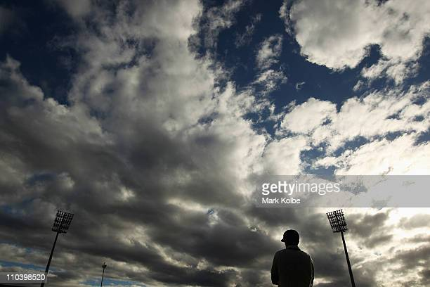 General view is seen as Ben Rohrer of the Blues fields during day two of the Sheffield Shield final match between the Tasmanian Tigers and the New...