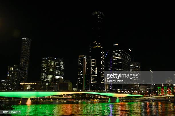 """General view is seen as """"BNE 2032"""" is displayed on a building during the announcement of the host city for the 2032 Olympic Games, watched via live..."""