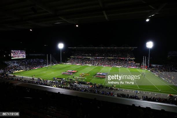 A general view is seen as both teams stand for the naitonal anthems during the 2017 Rugby League World Cup match between the New Zealand Kiwis and...