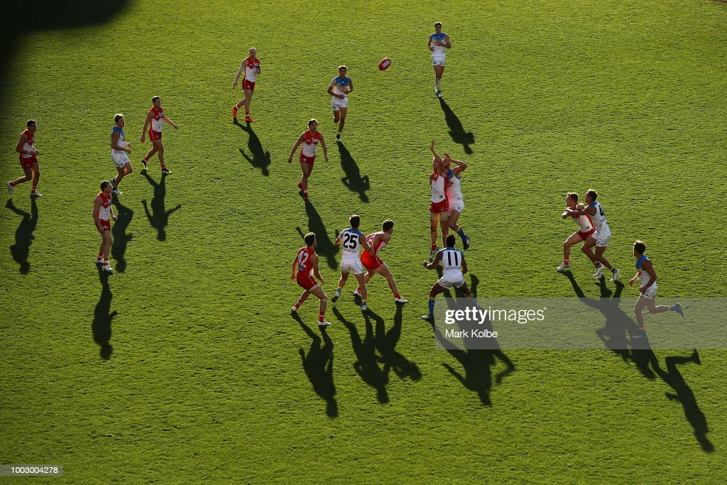 A general view is seen as Callum Sinclair of the Swans and Jarrod Witts of the Suns compete for the ball during the round 18 AFL match between the Sydney Swans and the Gold Coast Suns at Sydney Cricket Ground on July 21, 2018 in Sydney, Australia.