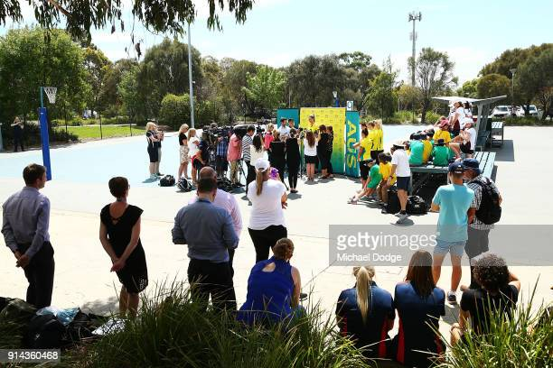 General view is seen as Captain Caitlin Bassett speaks to media during the Australian Netball Commonwealth Games Team Announcement at State Netball...