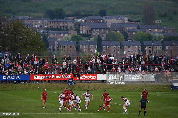 General view is seen as Catalan Dragons attack Batley Bulldogs during the Ladbrokes Challenge Cup Sixth Round match between Batley Bulldogs and...