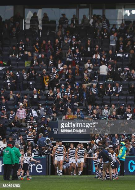 A general view is seen as Cats players enter the field during the round 21 AFL match between the Geelong Cats and the Richmond Tigers at Simonds...
